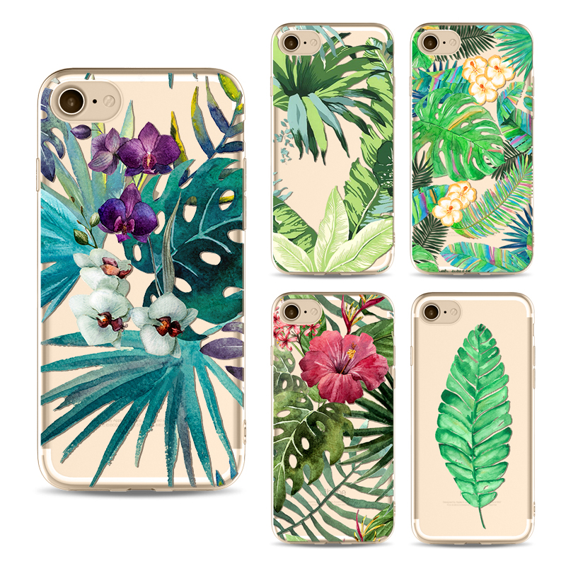 Green leaf phone Cases For Iphone 6 6s 6Plus 7 7s 7plus Soft Fundas Clear TPU Silicon Ultra-Thin Leaves Plant Phone Cover Case