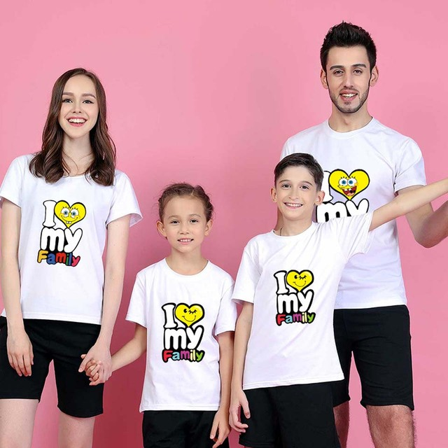 a04b1719 Matching Family Shirts Printed Family Matching Outfits Clothing Summer Cotton  Female Male Children T shirts 11 Colors