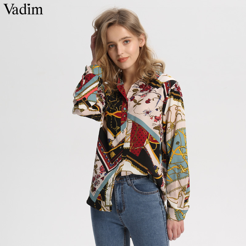 Vadim women vintage Geometric pattern blouses long sleeve turn down collar pleated shirts female casual wear chic tops LA293 Блузка