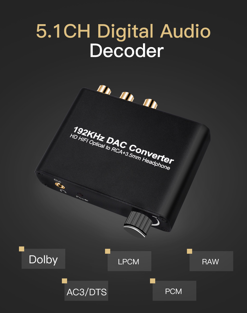 UNSTINCER Digital Converter HD HIFI Optical Coaxial to RCA Adapter with 3.5mm Headphone Decoder 5.1 DOBBLY Audio LR Output