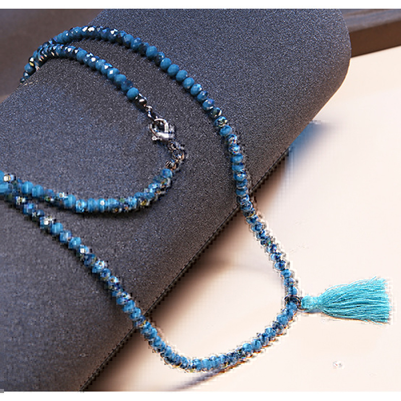 Women Ethnic Quality Charm Glass Beads Tassel Necklace Simple Delicate Long Necklace Handmade bohemian Style Necklace Jewelry