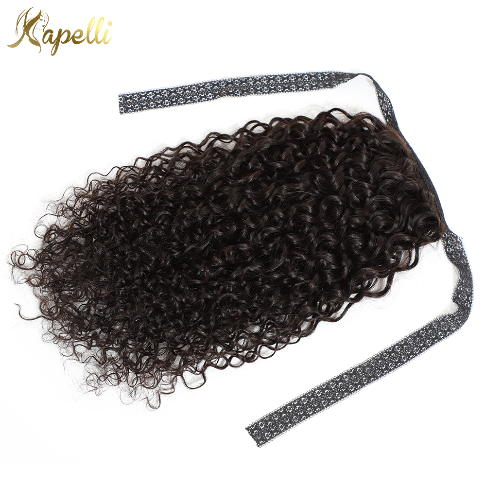Afro Kinky Curly Ponytails Human Hair For Black Women Natural Remy Hair Mongolian Clip Hair Extensions Lace Ponytails 100g(China)