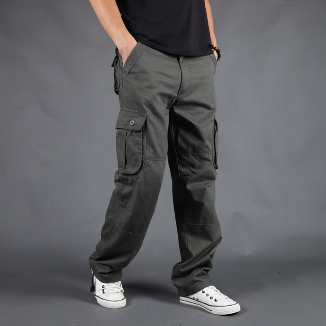 Pants Men Army Trousers Male Casual Many Pockets Stretch Cotton Pants Multi-pocket Overalls 4XL 5XL 6XL