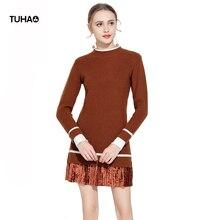 Tuhao драпированные лоскутное Платья-свитеры женская одежда поддельные Двойка с длинным рукавом Весна трикотажные Повседневные платья yz7059