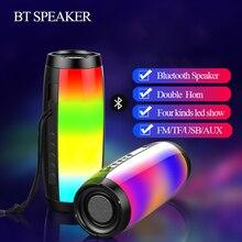Портативный светодиодный Bluetooth динамик Водонепроницаемый FM радио Беспроводная колонка 1200 mAh звуковая коробка mp3 Aux USB телефон компьютер бас 10W