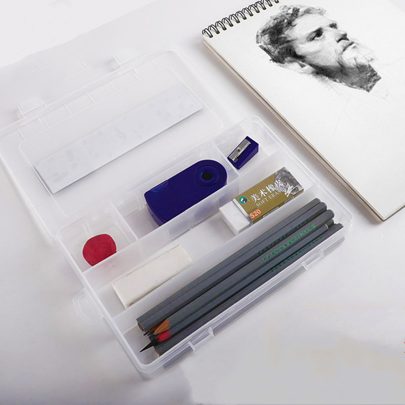Transparent Sketch Plastic Pencil Box Multifunctional Special Tool for Art Student Painting Receiving Box and Large Capacity