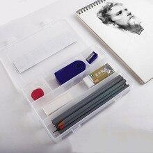 Прозрачный эскиз пластик пенал многофункциональный специальный инструмент для студента художественная роспись принимающего и большой емкости