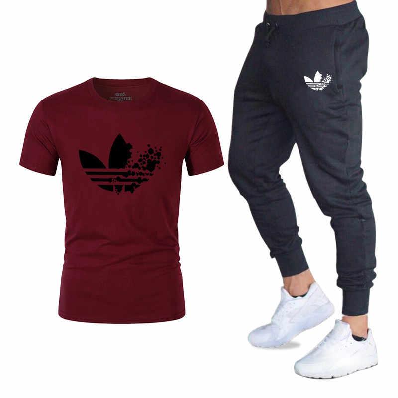 Брендовые комплекты, футболки + штаны, Мужская брендовая одежда, костюм из двух предметов, спортивный костюм, модные повседневные футболки в стиле хип-хоп для мужчин, футболки, топы