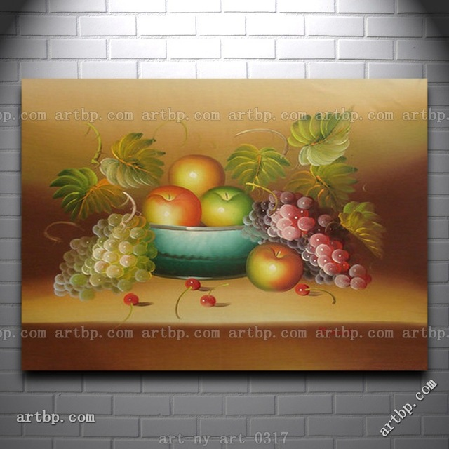 Oil Painting Of Still Life Apple In Bowl By Grape Fruit Portrait