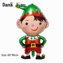 NEW Merry christmas decoration boy foil balloon happy new year Santa Claus snowman hand stick ball kids gift party DIY ballon(China)