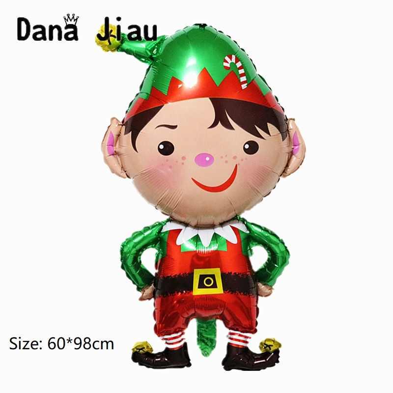NOVO Feliz natal decoração menino balão de alumínio feliz ano novo Papai Noel boneco de mão vara bola partido caçoa o presente DIY ballon