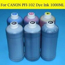 цена на 6 L/Lot For Canon PFI-102 Dye Ink For Canon iPF500 iPF510 iPF600 iPF605 iPF610 iPF700 iPF710 iPF720 Printer