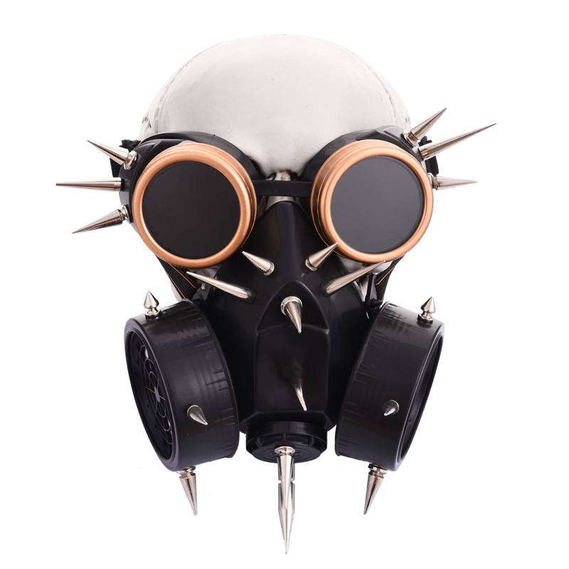 Steampunk Mask Cosplay Halloween Costume Accessories Retro Punk Rock Gas Mask Gothic Spikes Goggles Mask Set
