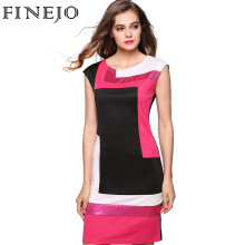 FINEJO Women Fashion Sexy Bodycon Dress Vestidos Geometrical Patchwork Contrast Color Short Sleeve O-neck Pencil Dress S-XXXL