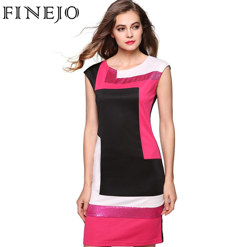 Finejo Women Fashion Sexy Bodycon Dress Geometrical Patchwork Contrast Color Short Sleeve O Necl Pencil Short