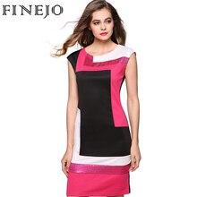 Finejo моды для женщин сексуальная bodycon dress vestidos геометрическая лоскутное контрастного цвета с коротким рукавом о-образным вырезом карандаш ...(China (Mainland))