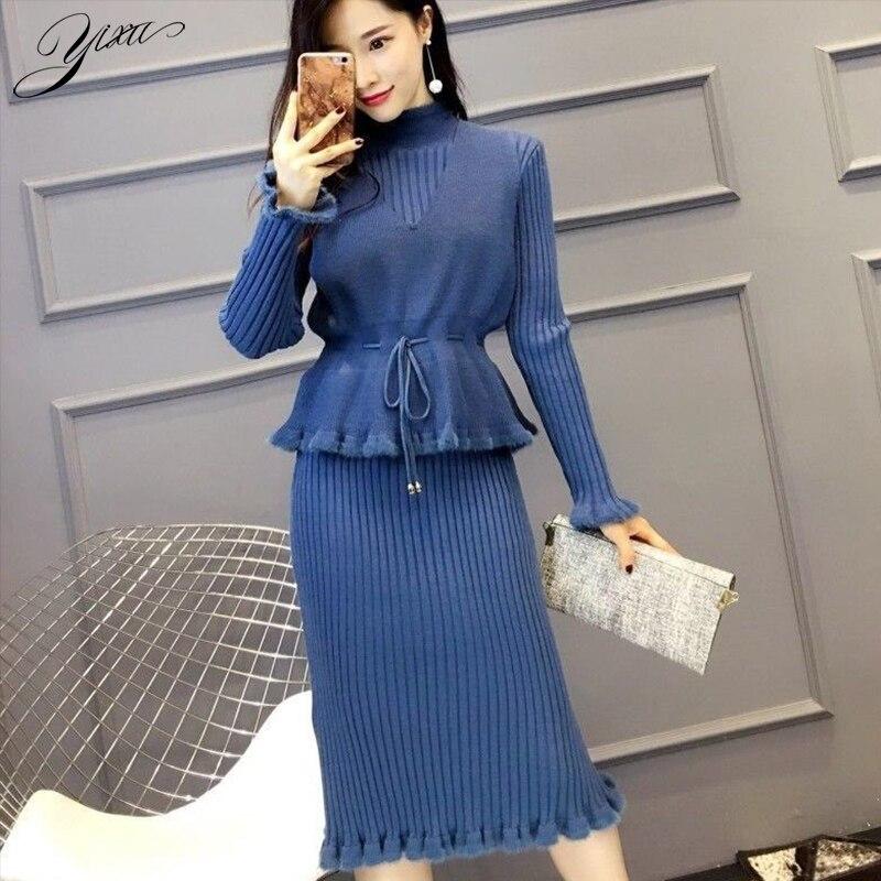Winter Woman Think Two-pieces Set Turtle Neck Knitt Pencil Dress + Loose Vest Suits For Woman Casual Female Warm Sets