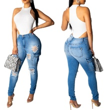 Women's Fashion High Waist Jeans Sexy Slim Pack Hip Knee Hole Personality Pocket Denim Blue Pencil Pants for Women Jeans S-2XL trendy high waist front pocket design women s denim suspenders pants