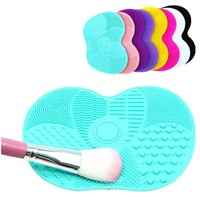 1PC Silicone Makeup Brush Cleaning Mat Washing Tools Small Pad Sucker Scrubber Board Washing Cosmetic Brush Cleaner Tool