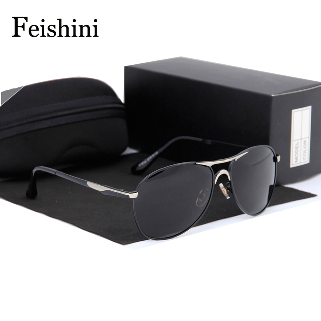 FEISHINI Blue Film Plating Anti-Reflective Glasses 2017 Impact resistance Security Lens Sunglasses Men Polarized Sportss