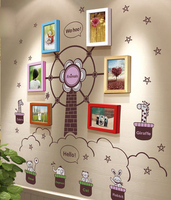7 Inch Solid Wood Photo Frame Wall Ferris Wheel Creative 6 Boxes Combination DIY Photo Wall Children Wall Boxes Photos Frame