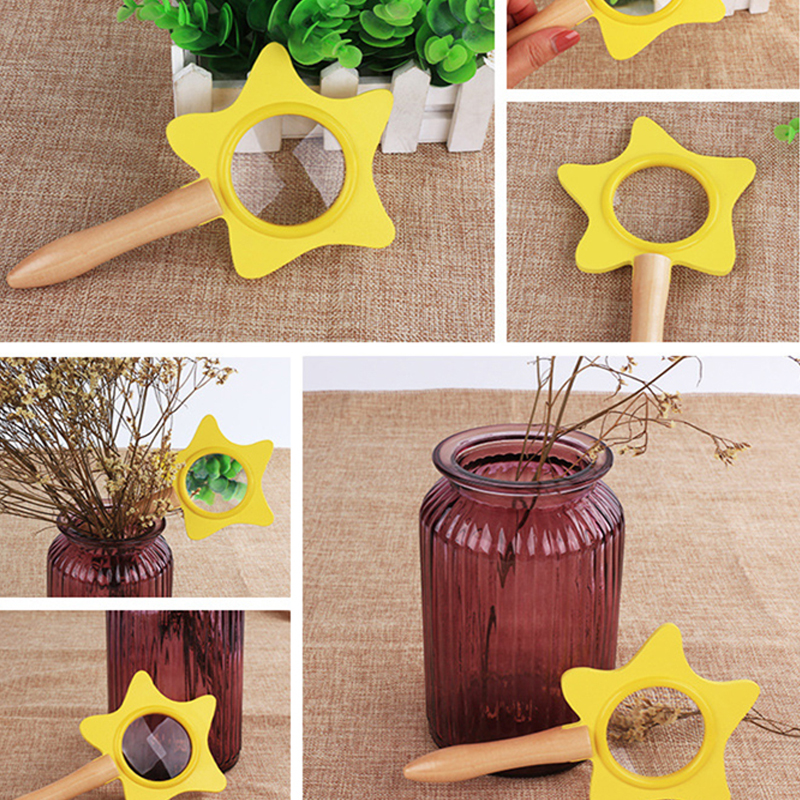 Cute Montessori Wooden Handheld Star Magnifying Lens Pretend Play Tool Toys For Children Wood Magnifying Glass Optics Toy