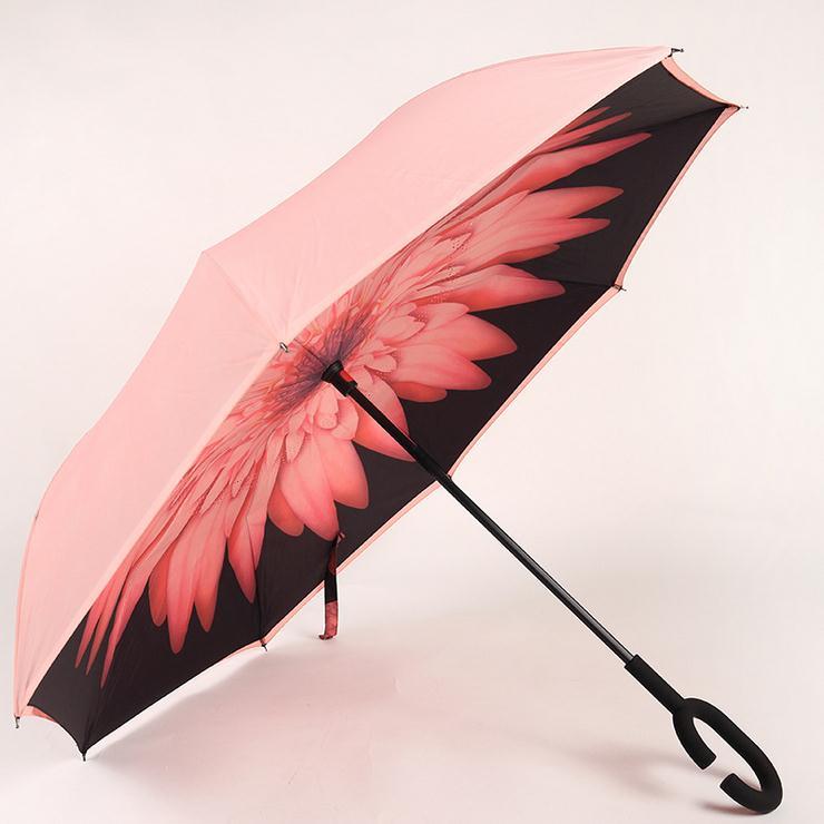 Parapluie nanotechnologie imperméable à l'eau anti-taches-huile Double couche inverse ouvert/fermé dans l'espace le plus étroit parapluie de voiture
