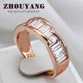 ZHOUYANG Crytal Blanco Chapado En Oro Rosa de Moda de Calidad Superior Anillo de Cristales Austríacos de Tamaño Natural Al Por Mayor ZYR355