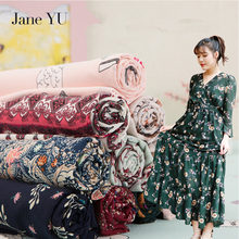 JaneYU 2018 100% Chiffon Fabric summer flowers natural chiffon print fabric for dress bright cloth tissu au meter fashion DIY