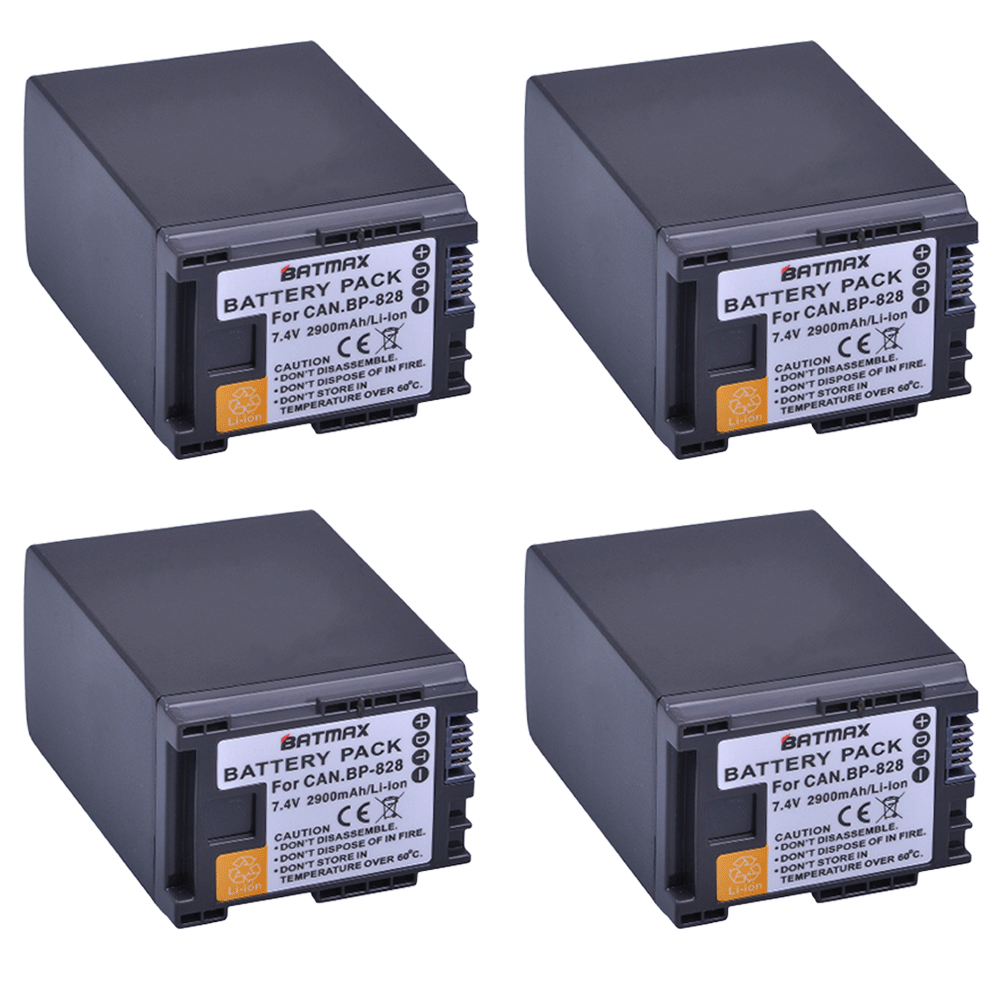 4Pcs 7.4V 2900mAh BP-828 Rechargeable Battery BP828 BP 828 Camera Batteries for Canon HF G30 HFG30 XA20 XA25 BP-820