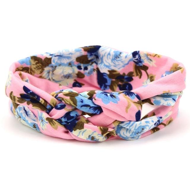 Lovely Flower Printed Cloth Hair Band for Child Turban Knot Cross Headband Headwear Hair Accessories 5