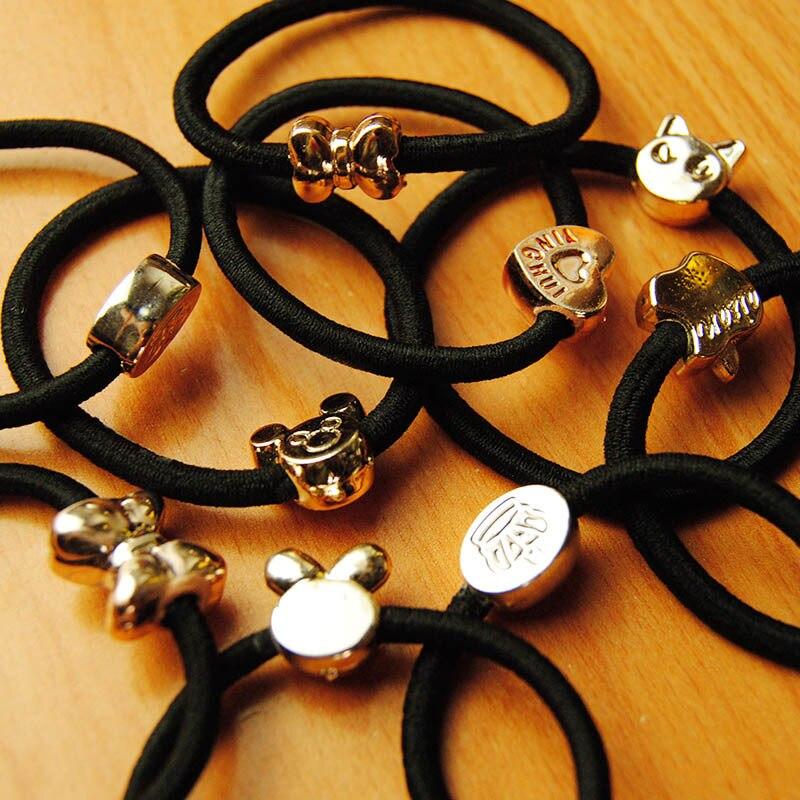 New Korean Hair Accessories For Women Black Elastic Hair Rubber Bands Girls Lovely Hair Ropes Ponytail Holder Tie Gums