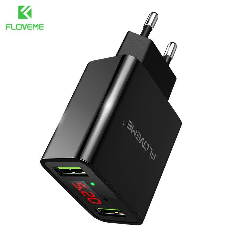 FLOVEME Usb-ladegerät 2 Ports Led-anzeige Smart Handy ladegerät Für iPhone Samsung Xiaomi Tablet Wandreiseadapter EU stecker