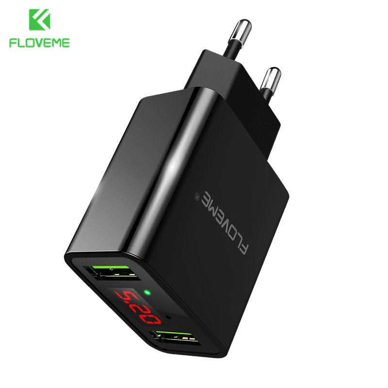 FLOVEME Usb-ladegerät 2 Ports Led-anzeige Smart Handy ladegerät Für iPhone Samsung Xiaomi Tablet Wandreiseadapter EU stecker