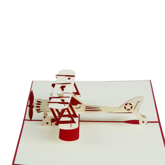 MENGXIANG New Happy Birthday Greeting Cards Gifts Post Wishes Bulk 3D Laser Cut Pop Up Airplane Model Blank Holiday