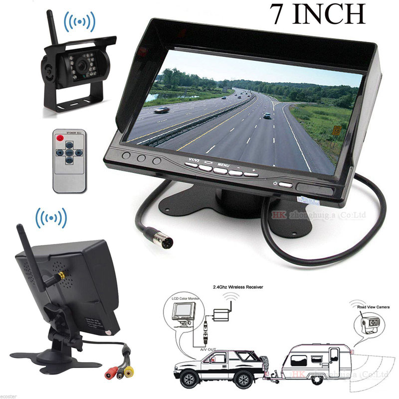 7 inch HD LCD TFT Rear View Monitor +Truck Trailer Vehicle Bus Van Pickup Camper RV Built-in Wireless Parking IR Camera Tool wireless dual backup cameras parking assistance night vision waterproof rear view camera 7 monitor for rv truck trailer bus