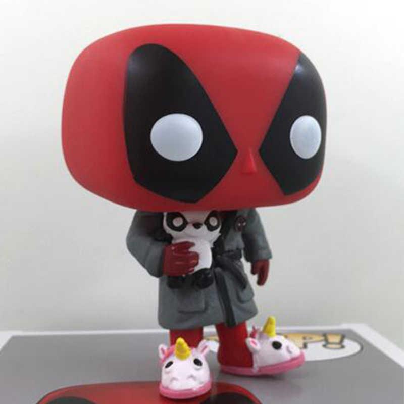 Maravilha Deadpool 327 Deitar com Panda & Unicórnio Chinelo X-MAN Bonito Vinil Bobble Head Figura Modelo Brinquedos Bonecas 10 cm