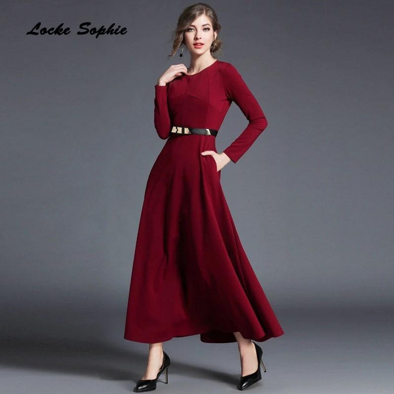 High waist dress Ladies plus size party dresses 2018Spring Fashion Knitted cotton waist belt Dress women Skinny Long Dress Girls plus size double pockets knitted dress