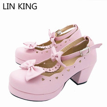 Купить с кэшбэком Sexy Lolita Shoes Pink Cosplay Bowtie Ankle Straps Low Top Square Heels Pumps Solid Soft Leather Kawaii Princess Party Shoes