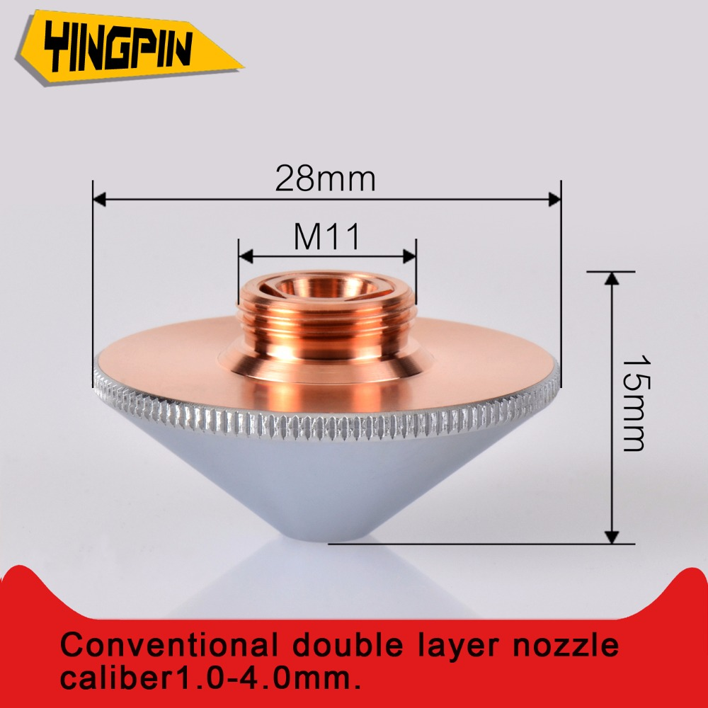 Laser Nozzles Double Layers Chrome Plated Dia 28 H15 M11 Caliber 1 0 4 0 For