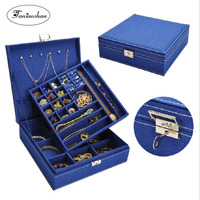 Fashion linen jewelry box Lovely cloth large earrings storage casket Double layer portable jewelry display with lock