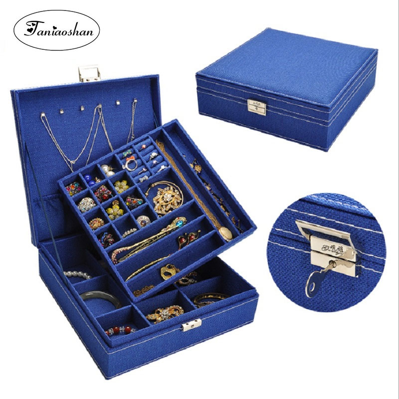 Mode lin boîte à bijoux belle tissu grandes boucles d'oreilles stockage cercueil Double couche portable bijoux affichage avec serrure