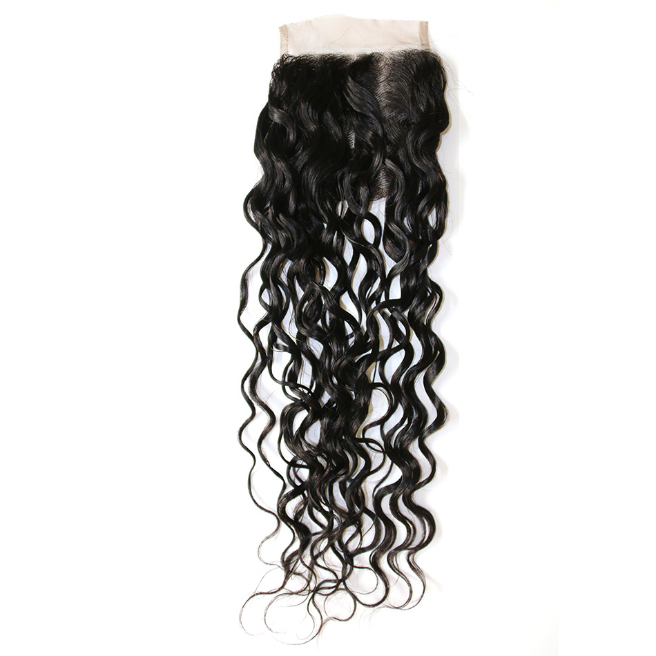 JSDshine Brazilian Human Hair Water Wave 4*4 Lace Closure 100% Human Hair Natural Color Remy Hair Closure Free Shipping