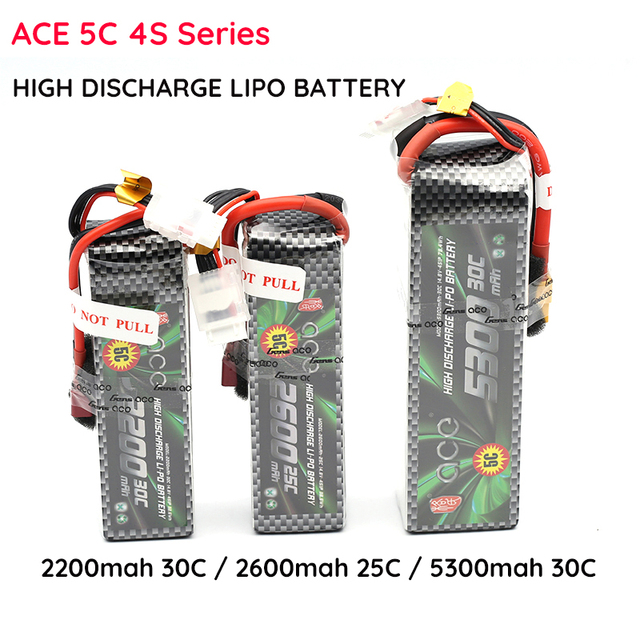 Lipo ACE Lithium Battery 4S 14.8V 2200 2600 5300 MAH 25C 30C Four Axis Fixed Wing Car Boat