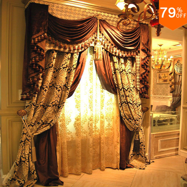 Luxury classical canopy curtain fashion tman christmas Best quality of luxury jacquard curtain finished products canopy curtain