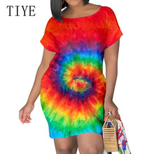 TIYE Elegant Vintage Mini Short Sleeve O-neck Loose Dress New Arrival Rainbow Tie Dyeing Print Summer Clothes for Women