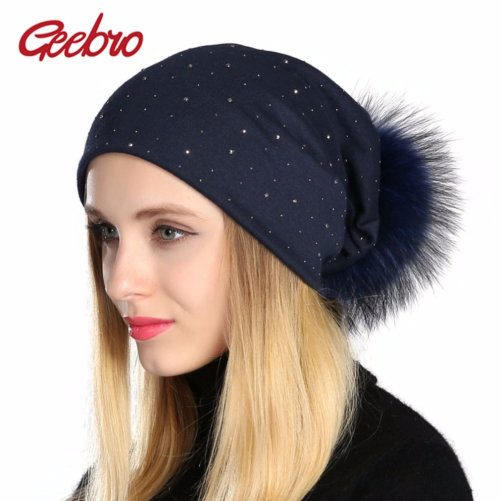 Geebro Women's Rhinestones Slouchy Beanie Hat with Pompom Hat for Women Plain Color Beanies Hats Female Raccoon Fur Pompon Skull autumn winter beanie fur hat knitted wool cap with raccoon fur pompom skullies caps ladies knit winter hats for women beanies page 3