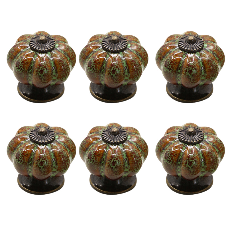6Pcs Ceramic Glazed Pumpkin Knobs Vintage Cabinet Door Pull Furniture Kitchen Drawer Handle LB88