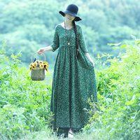 2018 Summer Vintage Mori Girl Women Floral Print Loose V neck Linen Dress Female Boho Beach Holiday Fairy Long Dress Vestidos