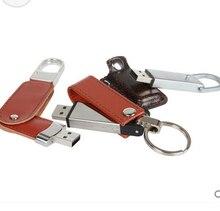 100pcs/lot Leather Pen Drive 4GB 8GB 16GB 32GB 64 GB USB Flash Drive memory stick u disk customized print LOGO